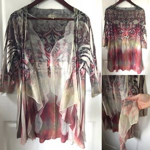 Live and Let Live tie dye cover/open cardigan, 1XL